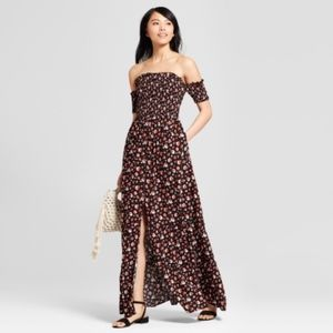 Xhilaration Floral Print Smocked Maxi Dress NWT